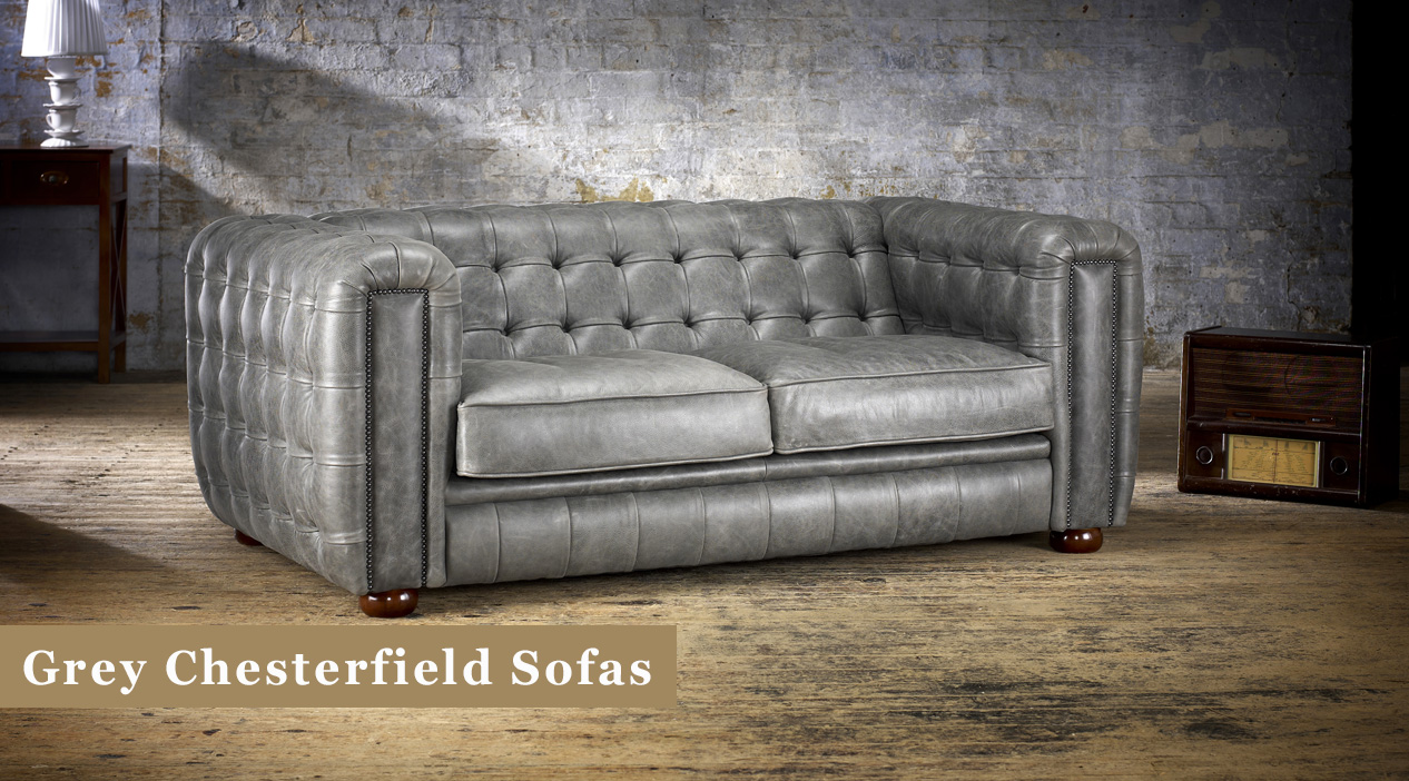 Grey Chesterfield Sofas in Leather & Fabric | Timeless ...