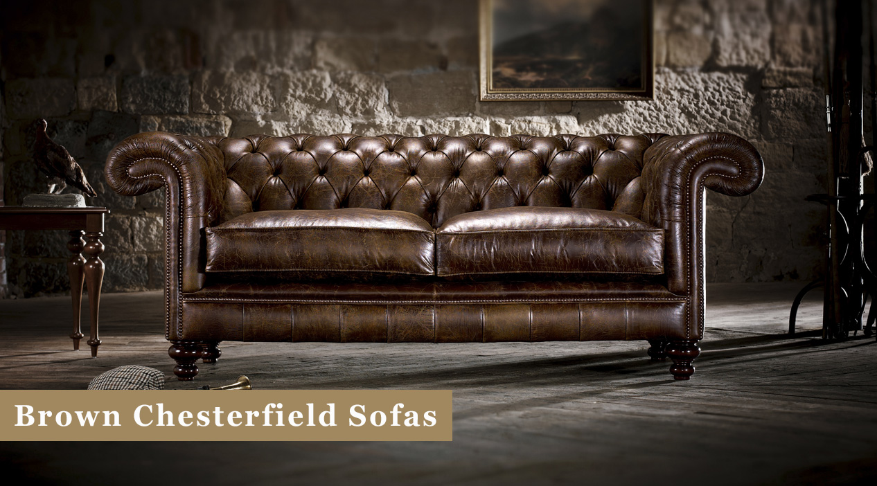 Brown Chesterfield Sofas Leather Fabric Timeless