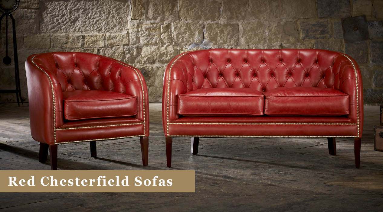 Red Chesterfield Sofas For Sale: Leather & Fabric