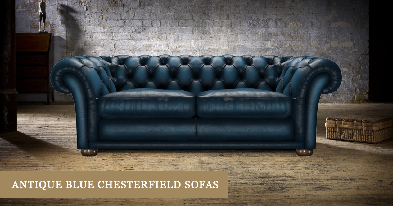 Antique-Look Blue Chesterfield Sofas | Timeless Chesterfields