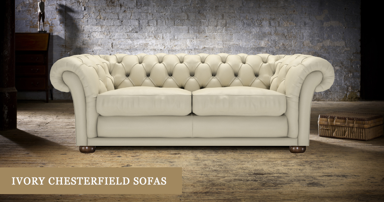 Ivory Chesterfield Sofas Handmade In