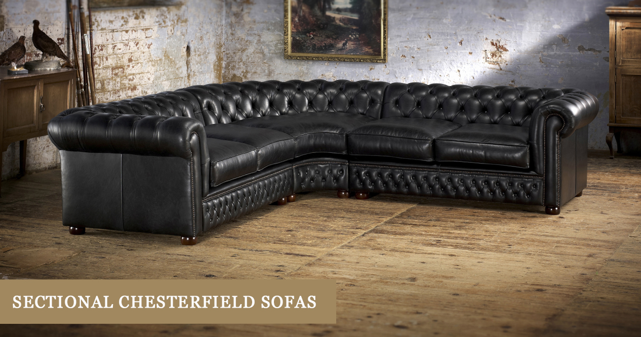 promo code 936f6 0438f Leather Chesterfield Sectional Sofa