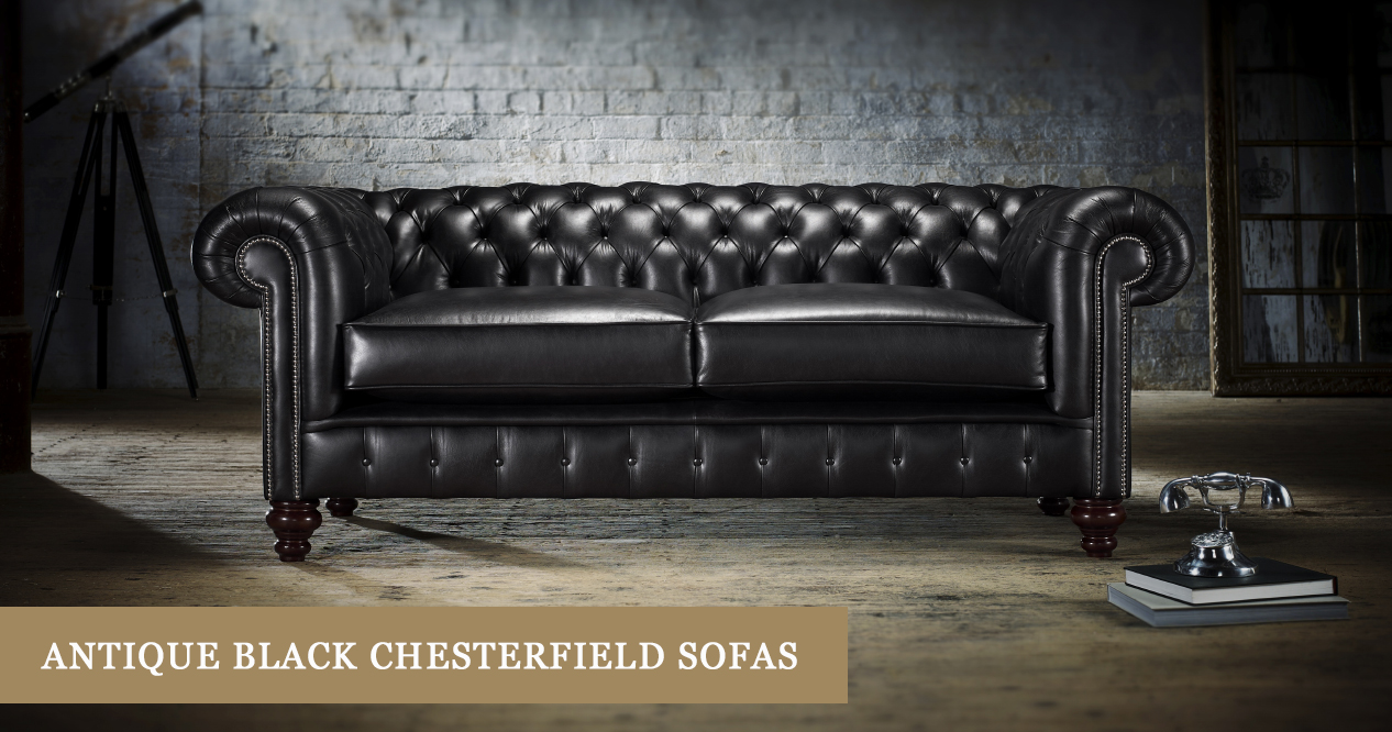 Antique-Look Black Chesterfield Sofas | Timeless Chesterfields
