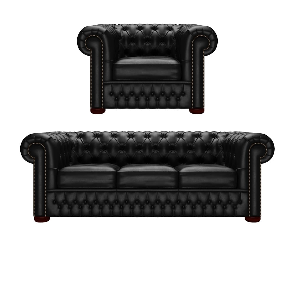 Chesterfield 3 Seater Sofa & Chair in Vele Black - from Timeless ...