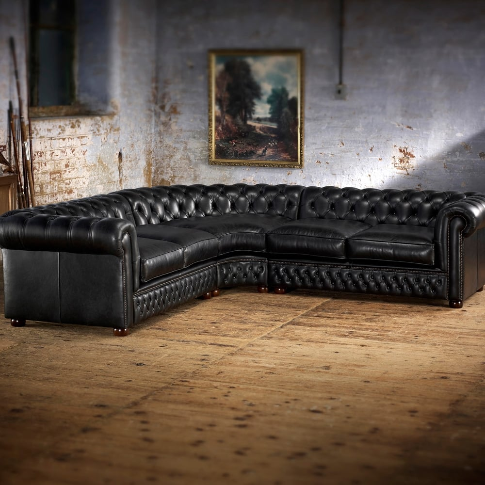 Chesterfield Corner Sofa 3x3 Modena Delft Blue